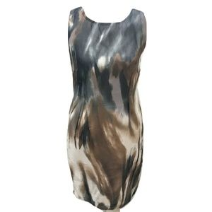 PREMISE Size 4 Dress Midi Gray Beige Abstract